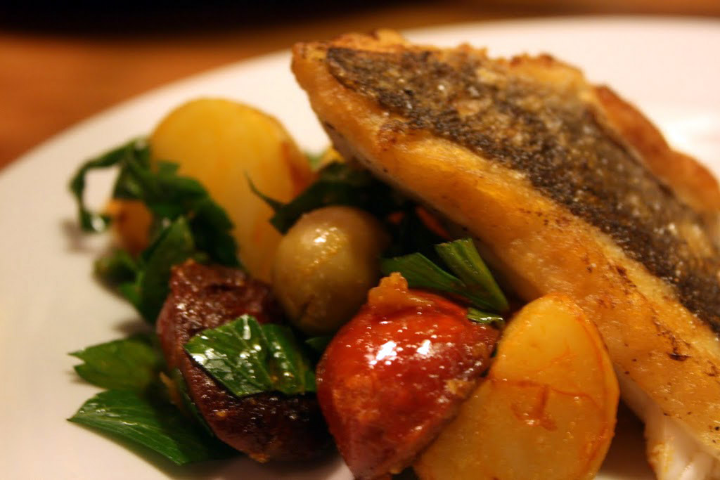 Omar Allibhoy's Pan-fried Sea Bass Recipe — Dishmaps