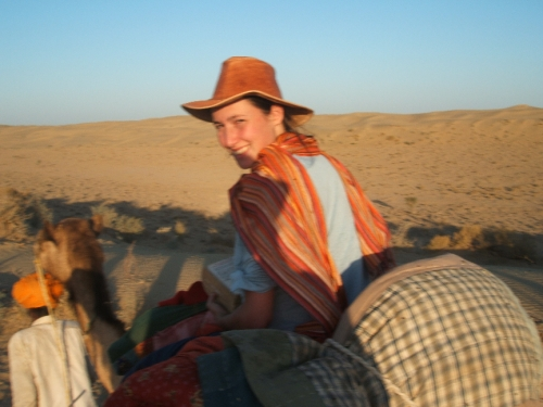 Just before I was taken down off the camel, and dragged through the desert on a camel cart after eating dodgy biscuits.