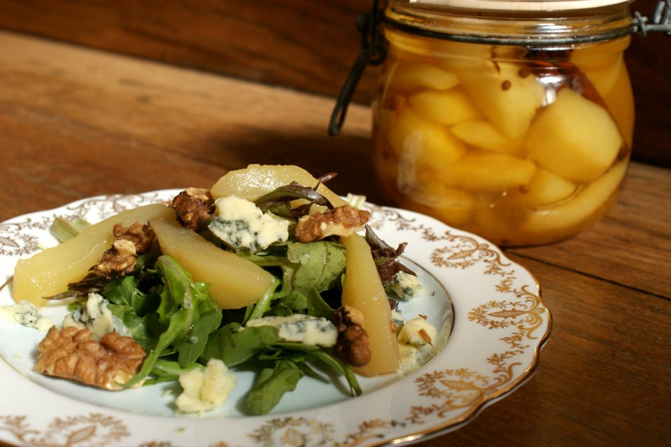 Jar pickled pears and walnut salad
