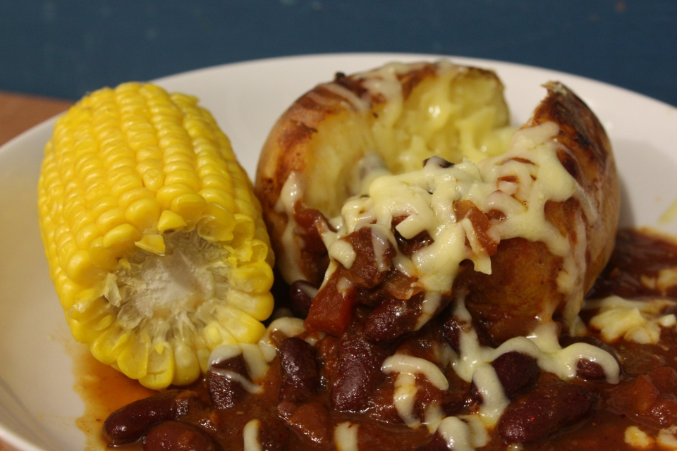 cowboy beans sweetcorn baked potato
