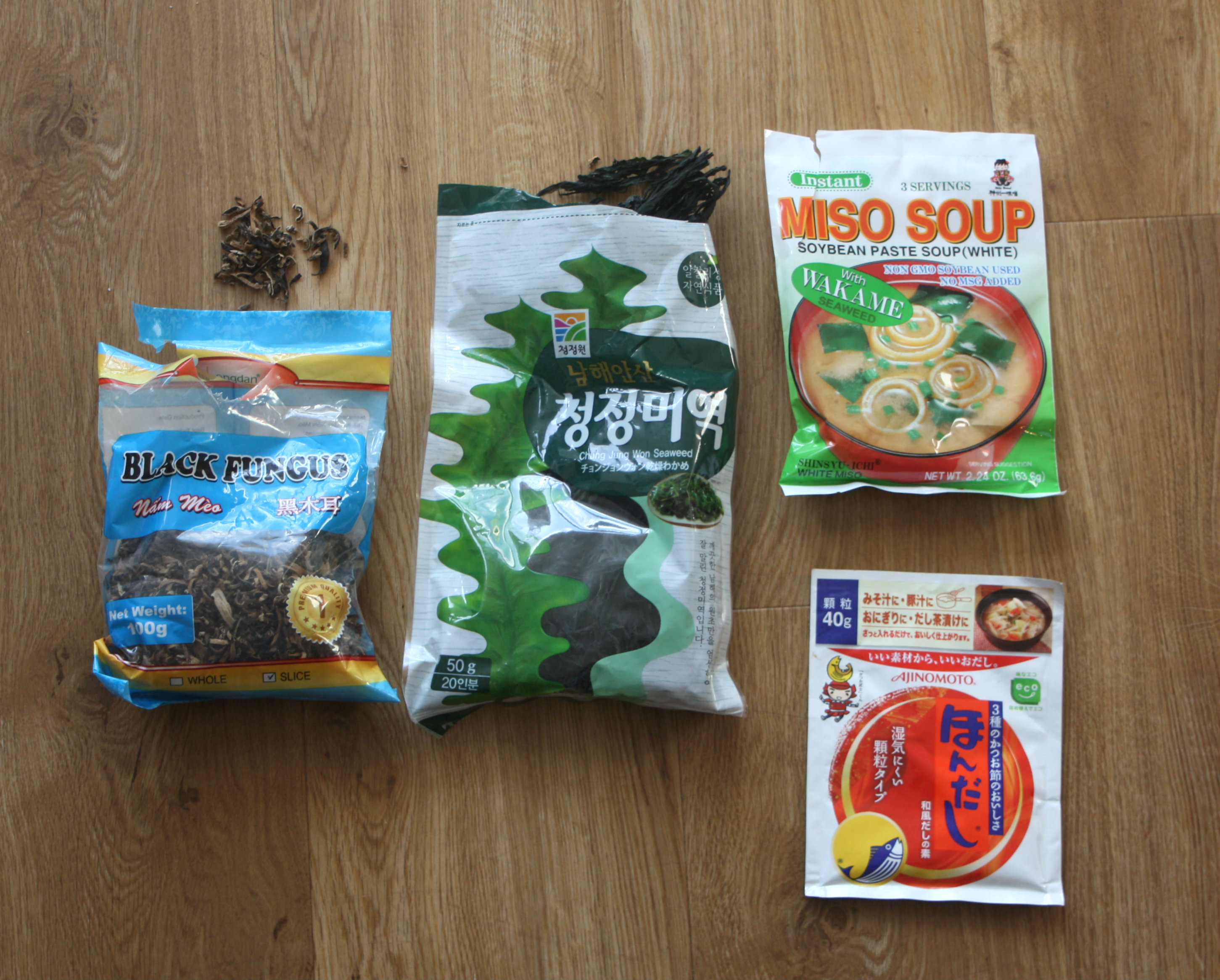 Some store cupboard ingredients (top right, clockwise): Instant Miso, Dashi Powder, Dried Mushroom, Dried Seaweed