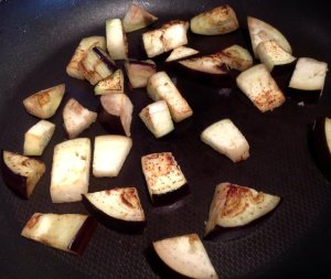 Pan fried aubergine